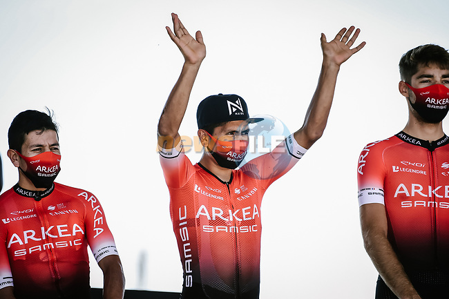Nairo Quintana (VOL) Team Arkea-Samsic at sign on before the start of Stage 10 of Tour de France 2020, running 168.5km from Ile d'Oléron to Ile de Ré, France. 8th September 2020.<br /> Picture: ASO/Pauline Ballet | Cyclefile<br /> All photos usage must carry mandatory copyright credit (© Cyclefile | ASO/Pauline Ballet)