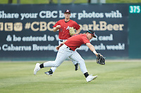 Kannapolis Intimidators center fielder Steele Walker (6) makes a running catch during the game against the Rome Braves at Kannapolis Intimidators Stadium on April 7, 2019 in Kannapolis, North Carolina. The Intimidators defeated the Braves 2-1. (Brian Westerholt/Four Seam Images)