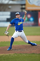 Mars Hill Lions relief pitcher Zach Grice (26) in action against the Queens Royals at Intimidators Stadium on March 30, 2019 in Kannapolis, North Carolina. The Royals defeated the Bulldogs 11-6 in game one of a double-header. (Brian Westerholt/Four Seam Images)