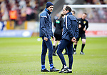 Motherwell v St Johnstone…20.02.21   Fir Park   SPFL<br />Murray Davidson talks with coach Alec Cleland during the pre-match warm up<br />Picture by Graeme Hart.<br />Copyright Perthshire Picture Agency<br />Tel: 01738 623350  Mobile: 07990 594431