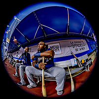 25 March 2019: Milwaukee Brewers first baseman Mike Moustakas sits in the dugout prior to an exhibition game against the Toronto Blue Jays at Olympic Stadium in Montreal, Quebec, Canada. The Brewers defeated the Blue Jays 10-5 in the first of two MLB pre-season games in the former home of the Montreal Expos. Mandatory Credit: Ed Wolfstein Photo *** RAW (NEF) Image File Available ***