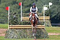 Sam Griffiths riding Gurtera Cher clears the Dewpond, 4th September 2021; Bicton Park, East Budleigh Salterton, Budleigh Salterton, United Kingdom: Bicton CCI 5* Equestrian Event;