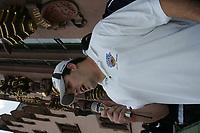 Defensive End Justin Brown (Frankfurt Galaxy) bei seiner Ansprache an die Fans