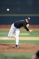 Wake Forest Demon Deacons relief pitcher Griffin Roberts (43) in action against the Clemson Tigers at David F. Couch Ballpark on March 12, 2016 in Winston-Salem, North Carolina.  The Tigers defeated the Demon Deacons 6-5.  (Brian Westerholt/Four Seam Images)