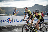 Esteban Chaves (COL/Mitchelton-Scott) & Luka Mezgec (SLO/Mitchelton Scott) up the Puy Mary (uphill finish)<br /> <br /> Stage 13 from Châtel-Guyon to Pas de Peyrol (Le Puy Mary) (192km)<br /> <br /> 107th Tour de France 2020 (2.UWT)<br /> (the 'postponed edition' held in september)<br /> <br /> ©kramon