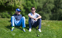 Niall Horan (Singer / One Direction) & Chris Evans (TV / Radio) during the BMW PGA PRO-AM GOLF at Wentworth Drive, Virginia Water, England on 23 May 2018. Photo by Andy Rowland.