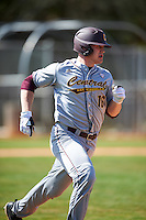Central Michigan Chippewas left fielder Daniel Jipping (16) runs to first base during a game against the Boston College Eagles on March 3, 2017 at North Charlotte Regional Park in Port Charlotte, Florida.  Boston College defeated Central Michigan 5-4.  (Mike Janes/Four Seam Images)