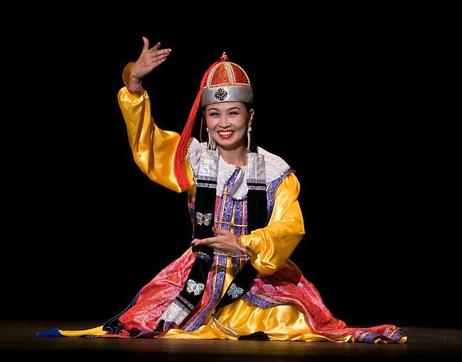 FEMALE MONGOLIAN DANCER during MONGOLIAN NIGHT at a DALAI LAMA teaching in October 2007 sponsored by KUMBUM CHAMTSE LING & the TIBETAN CULTURAL CENTER - BLOOMINGTON, INDIANA