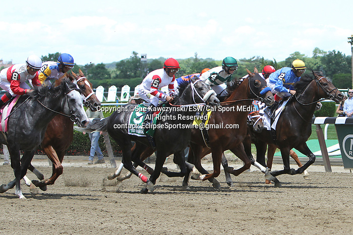 """June 7, 2014: Norumbega with Joel Rosario win the Grade II Brooklyn Invitational Stakes for 4-year olds & up, going 1 1/2 mile at Belmont Park. Trainer: Claude """"Shug"""" McGaughey. Owner: Chester Broman, Sr. . Sue Kawczynski/ESW/CSM"""