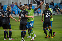 SAN JOSE, CA - OCTOBER 18: Yeimar Gomez Andrade #28 of the Seattle Sounders positions himself in the box during a game between Seattle Sounders FC and San Jose Earthquakes at Earthquakes Stadium on October 18, 2020 in San Jose, California.