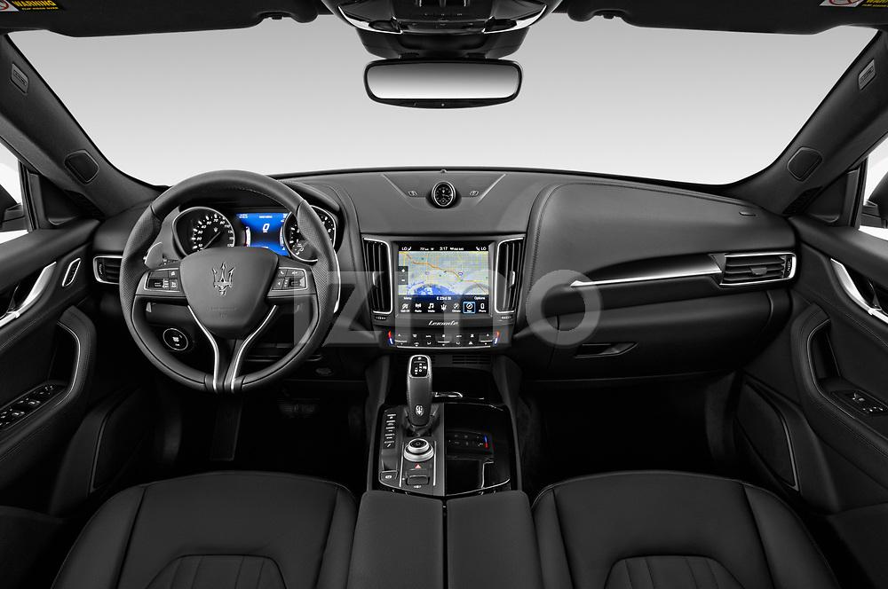 Stock photo of straight dashboard view of a 2020 Maserati Levante S 5 Door SUV