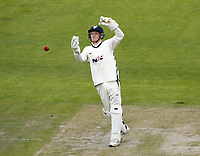 28th May 2021; Emirates Old Trafford, Manchester, Lancashire, England; County Championship Cricket, Lancashire versus Yorkshire, Day 2; Yorkshire keeper Harry Duke collects an awkward ball