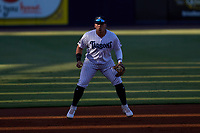 Tampa Tarpons third baseman Andres Chaparro (24) during a game against the Dunedin Blue Jays on May 7, 2021 at George M. Steinbrenner Field in Tampa, Florida.  (Mike Janes/Four Seam Images)