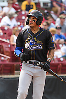 Quad Cities River Bandits shortstop Jeison Guzman (17) on deck during a game against the Wisconsin Timber Rattlers on July 11, 2021 at Neuroscience Group Field at Fox Cities Stadium in Grand Chute, Wisconsin.  (Brad Krause/Four Seam Images)