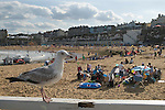 Broadstairs Kent Uk. Viking bay beach tourists on their annual summer holidays.