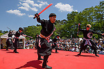 """Chris O'Neill, MAY 5, 2016 - American Chris O'Neill (right), the first foreign full-time salaried ninja in Japan, performs with his Japanese colleagues during an event at Nagoya Castle in Nagoya, Aichi Prefecture, Japan. O'Neill joins six Japanese ninjas hired by Aichi Prefecture to promote tourism in the region.<br /> <br /> O'Neill said being a ninja was a lifelong dream. """"My personal goal is to protect the weak, defend the innocent, and be a guardian for those who need a guardian,"""" he said in response to a reporter's question.<br /> <br /> O'Neill added that he was proud to perform alongside his six Japanese colleagues. """"We're writing the next chapter of ninja history. We're the next generation of ninja."""" (Photo by Ben Weller/AFLO) (JAPAN) [UHU]"""