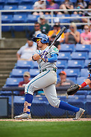 Hartford Yard Goats third baseman Josh Fuentes (13) grounds into a fielders choice in the top of the seventh inning during a game against the Binghamton Rumble Ponies on July 9, 2017 at NYSEG Stadium in Binghamton, New York.  Hartford defeated Binghamton 7-3.  (Mike Janes/Four Seam Images)