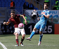 Calcio, Serie A: Roma vs Napoli. Roma, stadio Olimpico, 25 aprile 2016.<br /> Roma's Alessandro Florenzi, left, and Napoli's Dries Mertens fight for the ball during the Italian Serie A football match between Roma and Napoli at Rome's Olympic stadium, 25 April 2016. <br /> UPDATE IMAGES PRESS/Isabella Bonotto