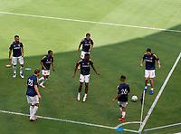 LOS ANGELES, CA - AUGUST 22: Los Angeles Galaxy warming prior to their match versus Los Angeles Galaxy before a game between Los Angeles Galaxy and Los Angeles FC at Banc of California Stadium on August 22, 2020 in Los Angeles, California.