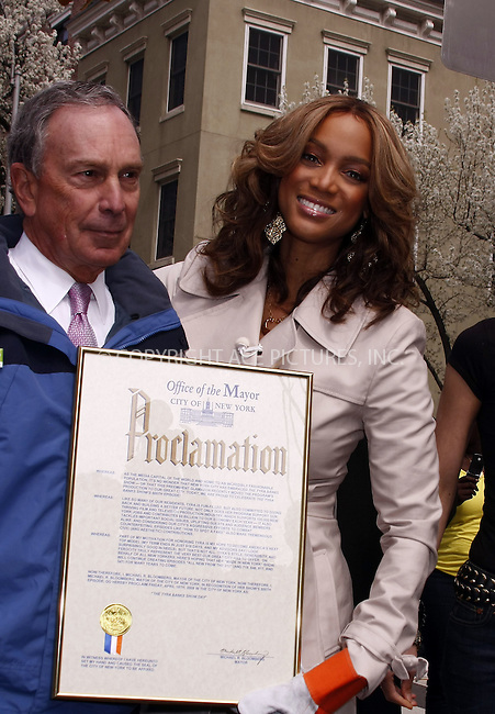 WWW.ACEPIXS.COM . . . . .  ....April 9 2008, New York City....Model and TV Personality Tyra Banks and some contestants from her show 'America's next top model joined Mayor Michael Bloomberg to plant a tree on Manhattan's Ninth Avenue. Mayor Bloomberg also presented Banks with a certificate commemerating the 500th episode of the Tyra Banks Show.....Please byline: AJ Sokalner - ACEPIXS.COM..... *** ***..Ace Pictures, Inc:  ..te: (646) 769 0430..e-mail: info@acepixs.com..web: http://www.acepixs.com
