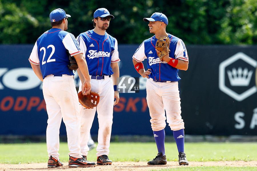 25 June 2011: Vincent Ferreira, Florian Peyrichou, Yann Dal Zotto, of Team France, are seen during Czech Republic 11-1 win over France, at the 2011 Prague Baseball Week, in Prague, Czech Republic.
