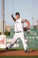 Brock Dykxhoorn (40) of the Lancaster JetHawks pitches against the San Jose Giants at The Hanger on August 13, 2016 in Lancaster, California. Lancaster defeated San Jose, 16-2. (Larry Goren/Four Seam Images)