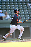Catcher Kole Cottam (29) of the Greenville Drive bats in Game 1 of a doubleheader against the Rome Braves on Friday, August 3, 2018, at Fluor Field at the West End in Greenville, South Carolina. Rome won, 7-6. (Tom Priddy/Four Seam Images)