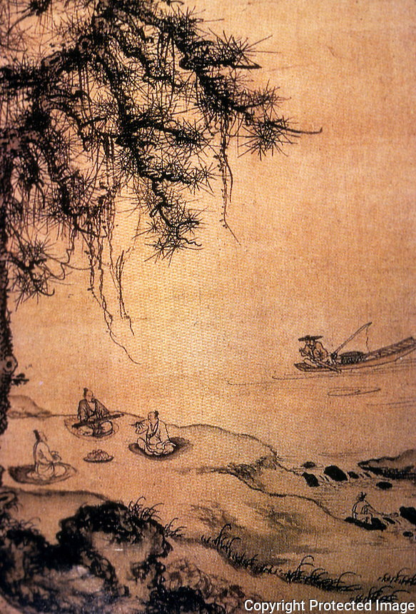 "Chinese Painting:  2.   ""Playing the Zither...""  Detail.    Zhu Derun.  Now visible, three scholar-recluses making and enjoying music."
