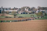 approaching peloton<br /> <br /> 116th Paris-Roubaix (1.UWT)<br /> 1 Day Race. Compiègne - Roubaix (257km)