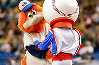 26 May 2002: Montreal Expos mascot Youppi greets their original mascot Souki between innings of a game against the Philadelphia Phillies at Olympic Stadium in Montreal, Quebec. The Expos defeated the Phillies 6-5. Mandatory Credit: Ed Wolfstein Photo