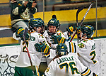 2 February 2020: The University of Vermont Catamounts celebrate their first goal of the game, breaking a shutout bid by Holy Cross Crusader Goaltender Jada Brenon, a Sophomore from Pendleton, NY, in the 3rd period at Gutterson Fieldhouse in Burlington, Vermont. The Lady Cats rallied in the 3rd period to tie the Crusaders 2-2 in NCAA Women's Hockey East play. Mandatory Credit: Ed Wolfstein Photo *** RAW (NEF) Image File Available ***