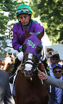 June 7, 2014: California Chrome and Victor Espinoza leave the paddock to take part in the post parade for the 146th running of the Grade I Belmont Stakes at Belmont Park , Elmont, NY. ©Joan Fairman Kanes/ESW/CSM