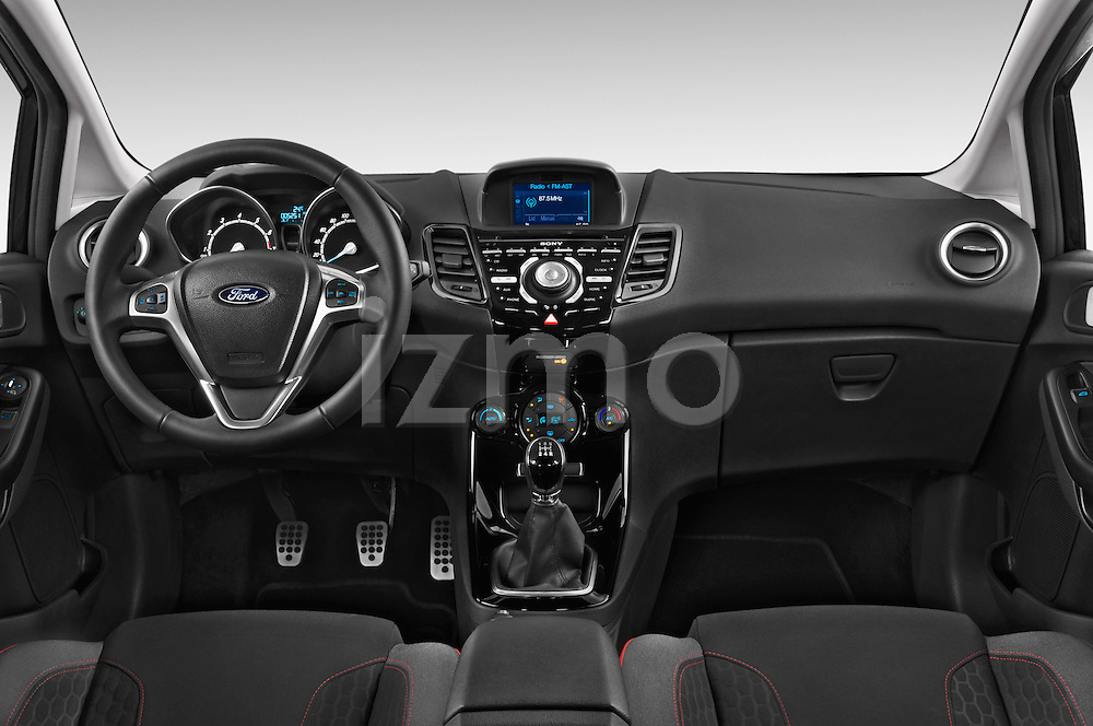 Stock photo of straight dashboard view of a 2014 Ford FIESTA Sport 3 Door Hatchback 2WD Dashboard