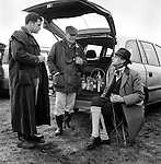 Hare Coursing...A liquid lunch is enjoyed in the members enclosure at the Waterloo Cup. The Waterloo Cup is considered the blue riband, or Ascot, of the hare coursing season. Near Altcar, Lancashire...Hunting with Hounds / Mansion Editions (isbn 0-9542233-1-4) c