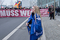 """Etwa 2.000 rechtsradikale Menschen demonstrierten am Samstag den 12. Maerz 2016 in Berlin unter dem Motto """"Merkel muss weg!"""" gegen Angela Merkel, gegen Fluechtlinge und fuer """"Das deutsche Vaterland"""".<br /> Bis auf wenige Ausnahmen waren angereisten Teilnehmer Neonazis und Hooligans, NPD-, Pediga- und AfD-Mitglieder.<br /> Aufgerufen zu dem Aufmarsch hatten die Hooligan-Gruppen """"Buendnis fuer Deutschland"""" und """"Buendnis fuer Berlin"""".<br /> Im Bild: Pegida-Gruenderin Kathrin Oertel.<br /> 12.3.2016, Berlin<br /> Copyright: Christian-Ditsch.de<br /> [Inhaltsveraendernde Manipulation des Fotos nur nach ausdruecklicher Genehmigung des Fotografen. Vereinbarungen ueber Abtretung von Persoenlichkeitsrechten/Model Release der abgebildeten Person/Personen liegen nicht vor. NO MODEL RELEASE! Nur fuer Redaktionelle Zwecke. Don't publish without copyright Christian-Ditsch.de, Veroeffentlichung nur mit Fotografennennung, sowie gegen Honorar, MwSt. und Beleg. Konto: I N G - D i B a, IBAN DE58500105175400192269, BIC INGDDEFFXXX, Kontakt: post@christian-ditsch.de<br /> Bei der Bearbeitung der Dateiinformationen darf die Urheberkennzeichnung in den EXIF- und  IPTC-Daten nicht entfernt werden, diese sind in digitalen Medien nach §95c UrhG rechtlich geschuetzt. Der Urhebervermerk wird gemaess §13 UrhG verlangt.]"""