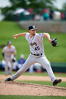Kane County Cougars relief pitcher Jake Winston (45) delivers a pitch during a game against the South Bend Cubs on May 3, 2017 at Four Winds Field in South Bend, Indiana.  South Bend defeated Kane County 6-2.  (Mike Janes/Four Seam Images)
