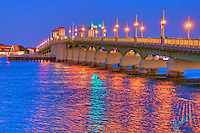 The beautiful Bridge of Lions reelected in the evening light on the Matanzas River in historic St. Augustine, Florida..