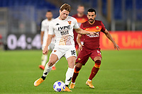 Daam Foulon of Benevento Calcio and Pedro Eliezer Rodriguez Ledesma of AS Roma compete for the ball <br /> during the Serie A football match between AS Roma and Benevento Calcio at Olimpico stadium in Roma (Italy), October 18th, 2020. Photo Antonietta Baldassarre / Insidefoto