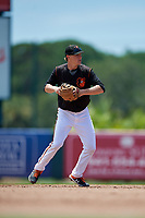 GCL Orioles shortstop Gunnar Henderson (9) throws to first base during a Gulf Coast League game against the GCL Red Sox on July 29, 2019 at Ed Smith Stadium in Sarasota, Florida.  GCL Red Sox defeated the GCL Pirates 9-1.  (Mike Janes/Four Seam Images)