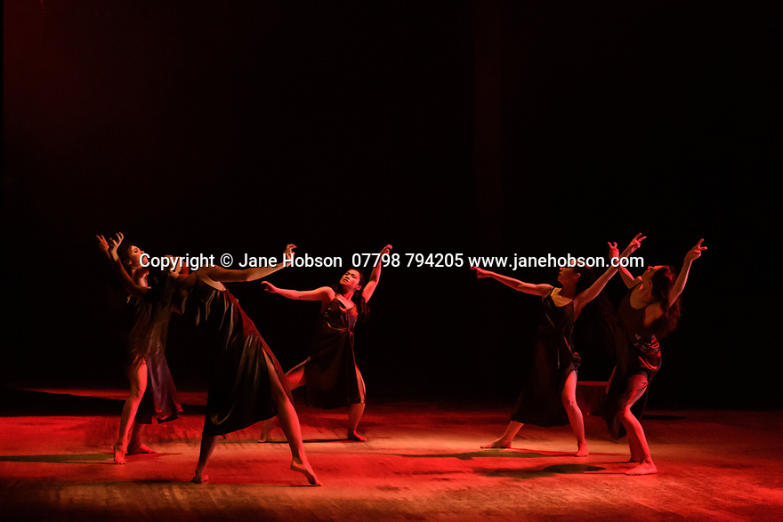"London, UK. 20.02.20. The Barbican presents Viviana Durante Company, in the world premiere of ""Isadora Now"", an evening paying tribute to feminist icon, Isadora Duncan, in the Barbican theatre. The piece shown is: DANCE OF THE FURIES, choreographed by Isadora Duncan, re-staged by Barbara Kane and Viviana Durante. The dancers are: Begona Cao, Christina Cecchini, Nikita Goile, Charmene Pang, Serena Zaccagnini.  Photograph © Jane Hobson."