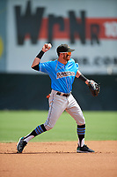 Akron RubberDucks shortstop Alexis Pantoja (1) throws to first base during an Eastern League game against the Bowie Baysox on May 30, 2019 at Prince George's Stadium in Bowie, Maryland.  Akron defeated Bowie 9-5.  (Mike Janes/Four Seam Images)