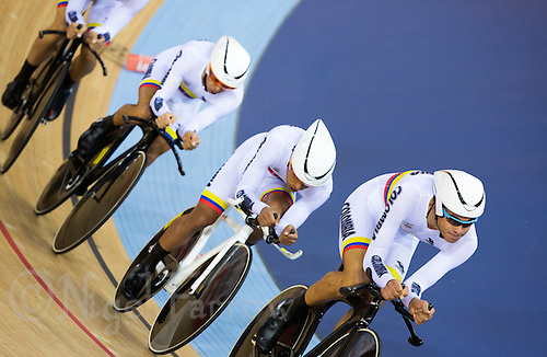 03 AUG 2012 - LONDON, GBR - The men's team from Colombia (COL) race against Spain during their Team Pursuit first round race at the London 2012 Olympic Games in the Olympic Park Velodrome in Stratford, London, Great Britain (PHOTO (C) 2012 NIGEL FARROW)