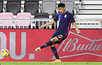 FORT LAUDERDALE, FL - DECEMBER 09: Marco Farfan #15 of the United States passes off the ball during a game between El Salvador and USMNT at Inter Miami CF Stadium on December 09, 2020 in Fort Lauderdale, Florida.