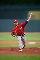 Columbus Clippers starting pitcher Shawn Morimando (34) during a game against the Louisville Bats on May 1, 2017 at Louisville Slugger Field in Louisville, Kentucky.  Columbus defeated Louisville 6-1  (Mike Janes/Four Seam Images)
