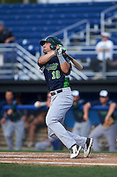 Vermont Lake Monsters first baseman Chris Iriart (18) at bat during the first game of a doubleheader against the Batavia Muckdogs August 11, 2015 at Dwyer Stadium in Batavia, New York.  Batavia defeated Vermont 6-0.  (Mike Janes/Four Seam Images)