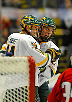 14 November 2008: University of Vermont Catamount forward Brian Roloff (left) and defenseman Josh Burrows (right), a Sophomore from Prairie Grove, IL, a Junior from West Seneca, NY, celebrate a goal against the Northeastern University Huskies at Gutterson Fieldhouse in Burlington, Vermont. The Catamounts fell to the Huskies 5-3...Mandatory Photo Credit: Ed Wolfstein Photo