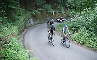 Simon Clarke (AUS/Orica-GreenEDGE) already feeling the pain in corner 31 up the Passo Del Mortirolo (1854m) on stage 16: Pinzolo - Aprica (174km) of the 2015 Giro d'Italia