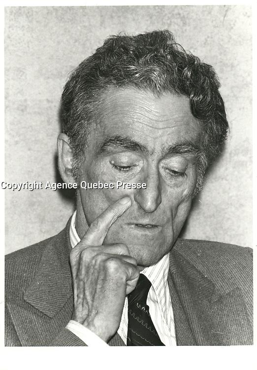 Le chef du PLQ, Claude RYAN, le 5 mai 1980<br /> <br /> <br /> PHOTO :  Agence Quebec Presse