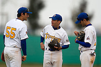 12 Oct 2008: Lahcene Benhamida talks to David Meurant during game 2 of the french championship finals between Templiers (Senart) and Huskies (Rouen) in Chartres, France. The Huskies win 7-4 over the Templiers.