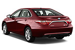 Car pictures of rear three quarter view of a 2015 Toyota camry hybrid 4 Door Sedan angular rear